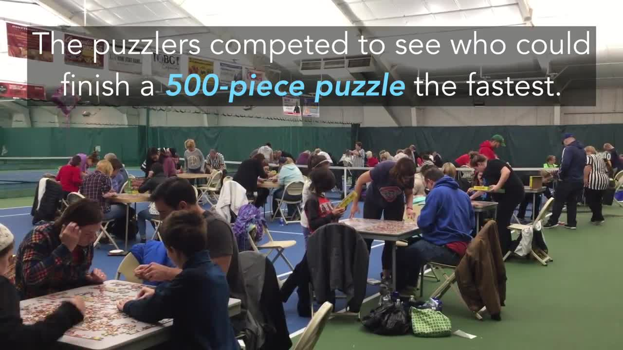 Almost 100 puzzlers came to compete in the 500-piece challenge.