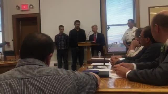 Mayor Brian Sager presented awards to the people responsible for intervening in an attempted kidnapping