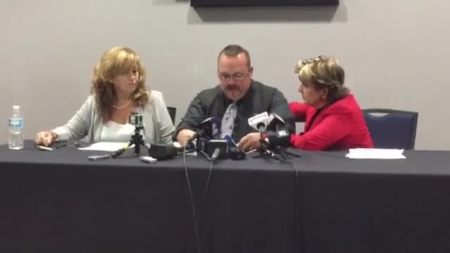 Mark Borowski, Lorry's brother, speaks at the press conference Sept. 29.