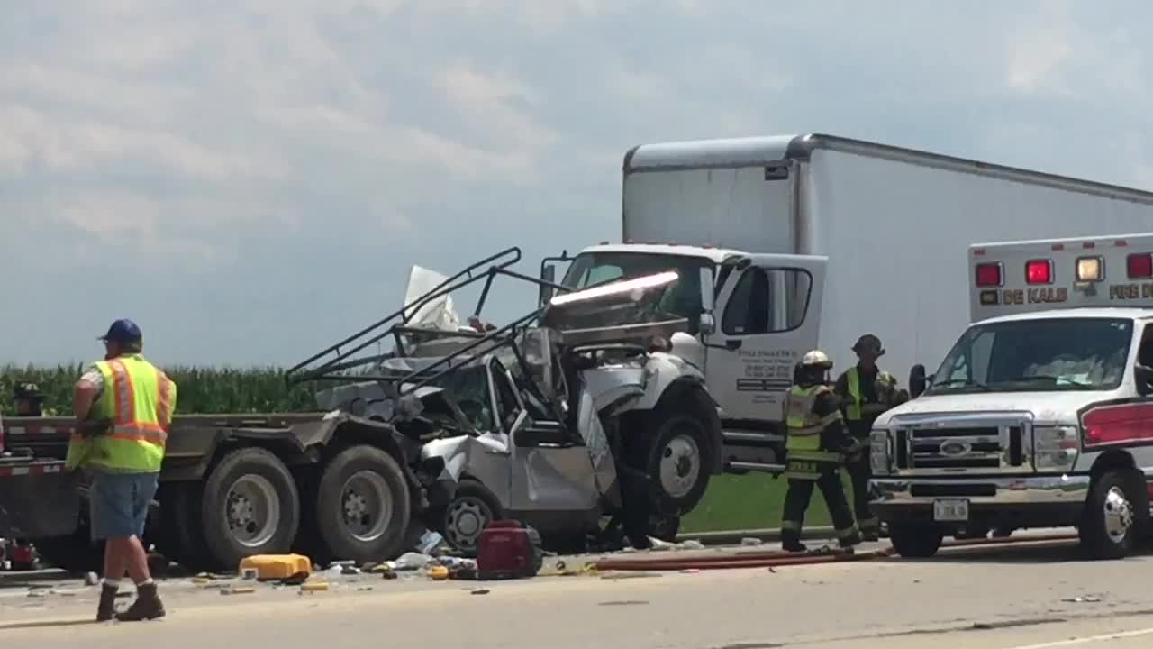 A Ford F-150 got pancaked between two semi-tractor trailers on Peace Road at Macom Drive. Two people were transported to Kishwaukee Hospital after being extricated.