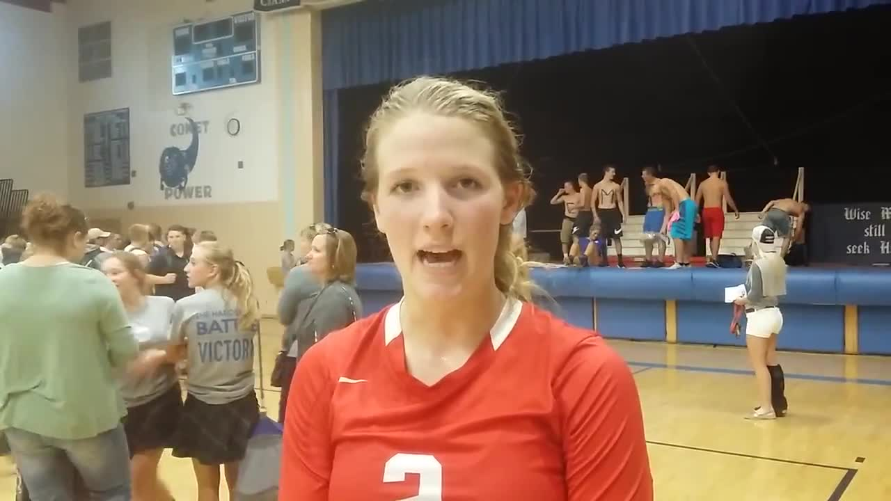 Oregon senior Gylian Finch talks about the Hawks' volleyball win at Newman — Sept. 6, 2017