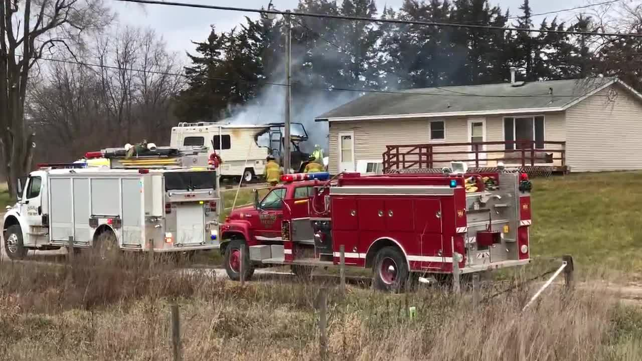 Fire and police personnel from Colfax and Prairie City responded to an RV fire around 9:45 a.m. Monday parked near a home on Highway 117 in southern Colfax.