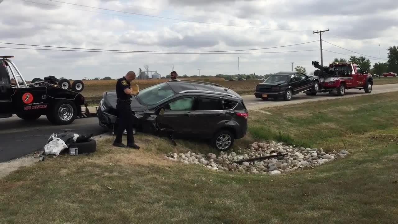 Both drivers were transported to Northwest Medicine Kishwaukee Hospital after a collision flipped one vehicle at Kishwaukee College in Malta on Tuesday, Oct. 3, 2017.