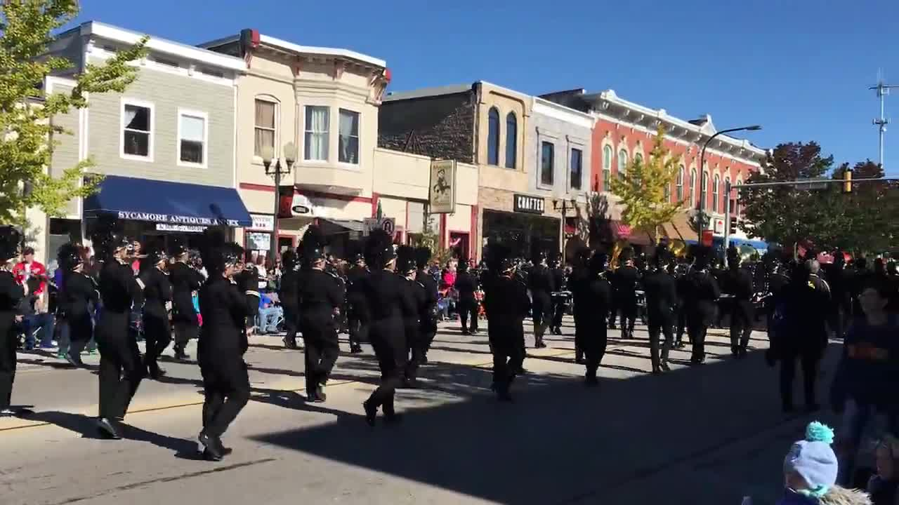 The 2017 Pumpkin Fest Parade marching through downtown Sycamore.