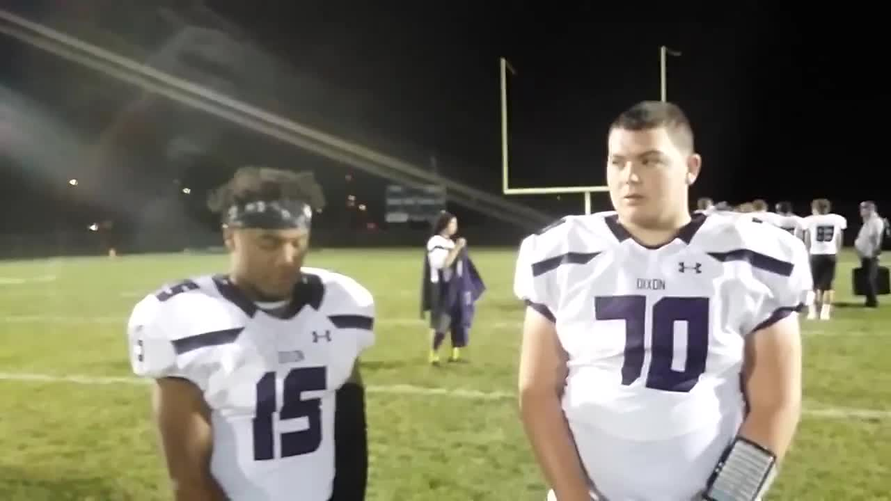Dixon seniors Arthur Cox & Brock Burgess talk about their 63-26 win at Rockford Christian.