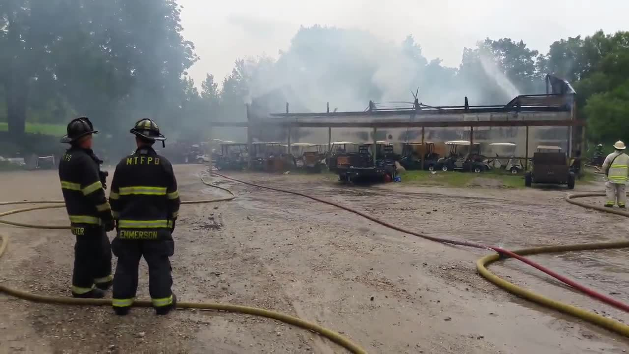 Multiple area fire departments were called to the scene of a smoky fire at an equipment building on Lakemoor Golf Club property.