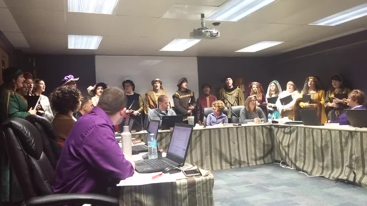 The Dixon High School Madrigals Choir performed holiday songs for the school board Wednesday, Dec. 13, 2017.