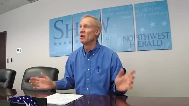 Gov. Bruce Rauner met with members of the Daily Chronicle editorial board to talk about SB1 and education funding in DeKalb County